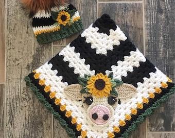 Crochet Baby Blanket - Baby Blanket - Handmade Baby Blanket - Cow Baby Blanket - Crocheted Baby Blanket - Baby Cow