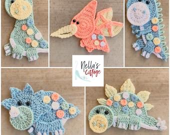 Crochet Pattern - INSTANT PDF DOWNLOAD - Dinosaur Crochet Patterns - Applique Pattern - Dinosaurs - Crochet Dinosaurs - Patterns