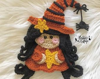 Crochet Pattern - INSTANT PDF DOWNLOAD - Nellas Cottage - Halloween - Halloween Pattern - Witch Pattern - Crochet Witch - Crochet Halloween