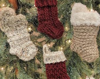 Crochet Pattern - INSTANT PDF DOWNLOAD - Nella's Cottage - Mini Stocking Pattern - Stockings - Crochet Stockings - Crochet Stocking Pattern