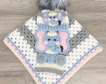Crochet Baby Blanket - Baby Blanket - Handmade Baby Blanket - Elephant Baby Blanket - Crocheted Baby Blanket - Baby Elephant