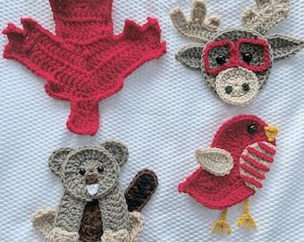 Crochet Pattern - INSTANT PDF DOWNLOAD - Crochet Applique Patterns - Appliques - Patterns - Crochet Patterns- Canadian Friends