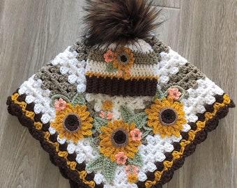 Crochet Baby Blanket - Baby Blanket - Handmade Baby Blanket - Sunflower Baby Blanket - Crocheted Baby Blanket - Baby  Sunflower