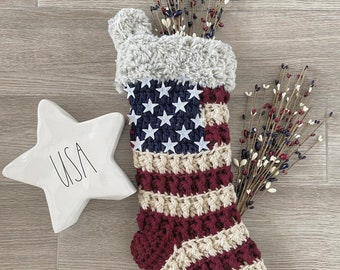 Luxury Crocheted Christmas Stocking - Christmas Stocking - Handmade Stocking- Patriotic Stocking - USA - American Stocking - Made In USA