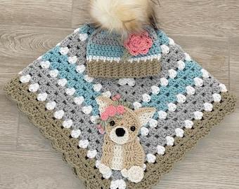 Crochet Baby Blanket - Baby Blanket - Handmade Baby Blanket - Baby Chihuahua Blanket - Crocheted Baby Blanket - Nellas Cottage