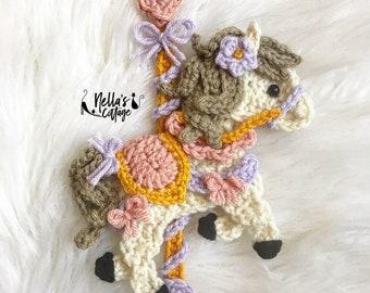 Crochet Pattern - INSTANT DOWNLOAD - Crochet Horse - Carousel - Baby Horse - Carousel Pattern - Appliqué Pattern - Carousel