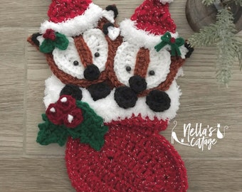 Crochet Pattern - Instant PDF DOWNLOAD - Christmas Fox - Christmas - Nellas Cottage - Stocking Crochet -Patterns - Holiday Patterns