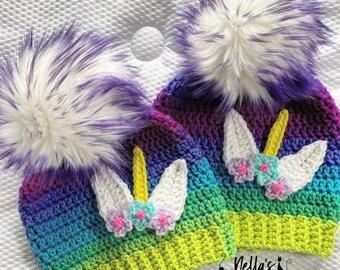 Handmade Unicorn Beanie - Rainbow Unicorn Beanie - Unicorn - Beanie - Hat - Ombre - Gifts for Her - Unicorn Hat - Unicorn Hats - Crochet