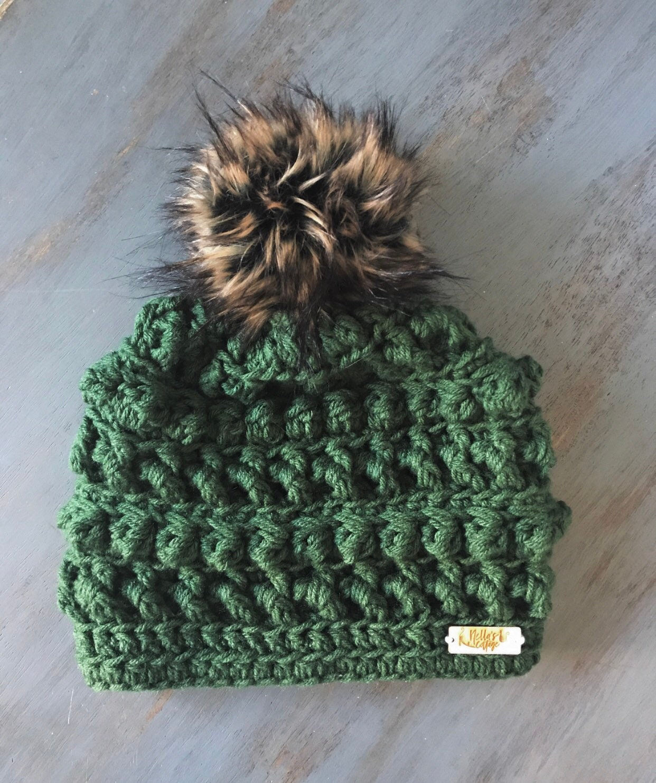 067de7aef8b Evergreen Beanie - Hat - Beanie - Winter Hat - Knit Hat - Knit Beanie -  Crocheted Hat - Gifts - Chunky Knit Hat - Faux Fur Beanie - Fall