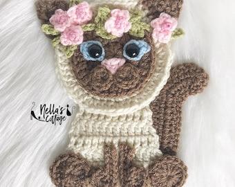 Crochet Pattern - INSTANT PDF DOWNLOAD - Cat Pattern - Crochet Cat - Boho Siamese Cat- Cats- Crochet Cats - Siamese Applique  - Crochet Cat