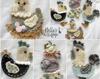 Crochet Pattern - INSTANT PDF DOWNLOAD - Country Chickens - Nellas Cottage - Chicken Appliques - Country Farmhouse - Chicken - Farm Girl