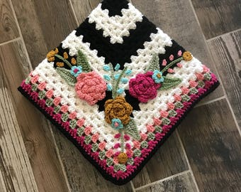 Crochet Baby Blanket - Baby Blanket - Handmade Baby Blanket - Floral Baby Blanket - Crocheted Baby Blanket - Baby Flowers