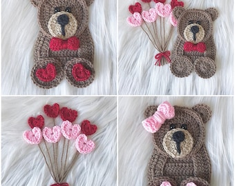 Crochet Pattern - INSTANT PDF DOWNLOAD - Crochet - Bears - Love - Valentines Day - Baby Bear - Hearts - Xoxo - His and Hers - Cute Bears