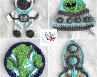 Crochet Pattern - INSTANT PDF DOWNLOAD - Nellas Cottage Patterns - Crochet - Outer Space - Crochet Alien - Space Ship - Astronaut - Patterns