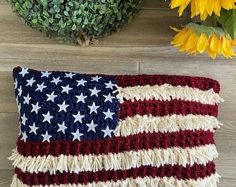Crochet Pattern - INSTANT PDF DOWNLOAD - Crochet Pillow Cover - Crochet Farmhouse Pillow - Farmhouse Pillow Cover - Crochet Americana Decor
