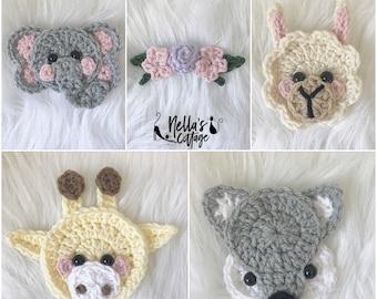 Crochet Pattern - INSTANT PDF DOWNLOAD - Pattern - Mini Animal Heads - Crochet Mini Animals - Mini Elephant - Llama - Giraffe - Fox - Mini