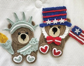 Crochet Pattern - INSTANT PDF DOWNLOAD - Freedom Friends - Nellas Cottage - Liberty - Statue of Liberty - America - Usa - Freedom