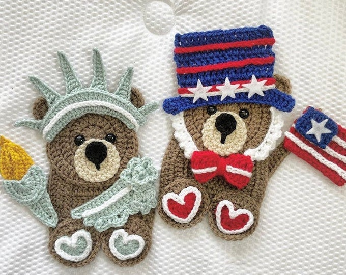 Featured listing image: Crochet Pattern - INSTANT PDF DOWNLOAD - Freedom Friends - Nellas Cottage - Liberty - Statue of Liberty - America - Usa - Freedom