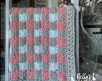 Crochet Pattern - INSTANT PDF DOWNLOAD  - Baby Blanket - Buffalo Plaid Blanket Pattern - Gingham Blanket Pattern - Nella's Cottage - Crochet