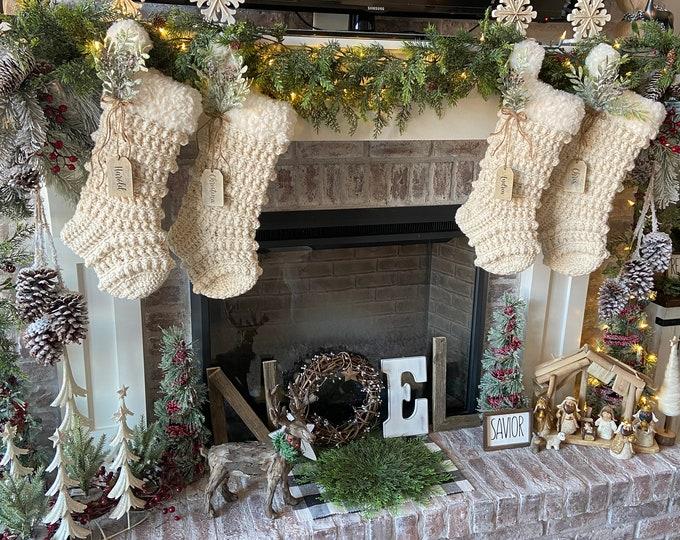 Featured listing image: Luxury Crocheted Christmas Stocking - Rustic Christmas Decor - Christmas Stocking - Handmade Stocking
