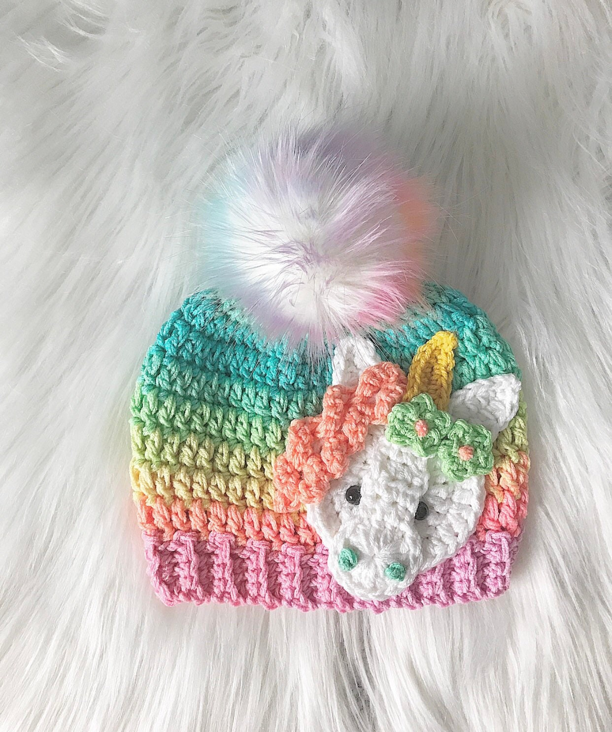 adda4f6093a24 Handmade Unicorn Beanie - Rainbow Unicorn Beanie - Unicorn - Beanie - Hat -  Ombre - Gifts for Her - Unicorn Hat - Unicorn Hats - Crochet
