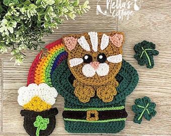 Nella's Exclusive- Crochet Pattern - INSTANT PDF DOWNLOAD - Applique Pattern - Crochet - Irish - Kitty - Rainbow - St Patricks Day - Ireland