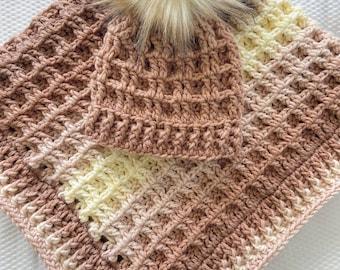Crochet Pattern - INSTANT PDF DOWNLOAD  - Baby Blanket - Nellas Cottage - Waffle Blanket Pattern - Waffle Beanie Pattern - Blanket Hat Set
