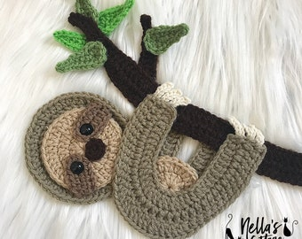 Crochet Pattern - INSTANT DOWNLOAD - Crochet Sloth - Sloth - Baby Sloth - Sloth Pattern - Appliqué Pattern - Sloths - Sloth Nursery