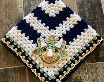 Crochet Baby Blanket - Baby Blanket - Handmade Baby Blanket - Dinosaur Baby Blanket - Crocheted Baby Blanket - Baby Dinosaur