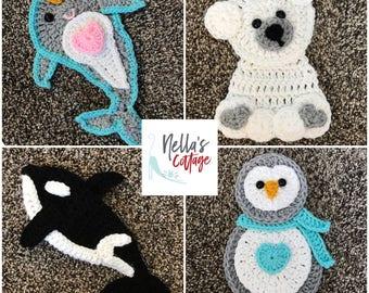 Crochet Pattern - INSTANT PDF DOWNLOAD - Pattern - Crochet - Orca Whale - Penguin - Narwhale - Polar Bear - Crochet Applique