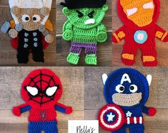 Crochet Pattern - INSTANT PDF DOWNLOAD - Superhero - Baby Crochet - Crochet Pattern - Superhero Appliqués - Crochet Superheroes - Crochet