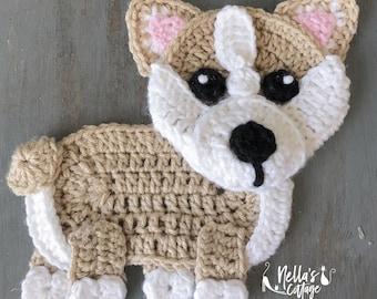 Crochet Pattern - INSTANT DOWNLOAD - Crochet Corgi - Nellas Cottage - Crochet - Corgi - Crochet Dog - Crochet Corgi - Corgi Applique