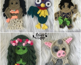 Crochet Pattern - INSTANT PDF DOWNLOAD - Nellas Cottage Patterns - Crochet - Heart of the Ocean - Polynesian - Crochet Hawaiian Characters