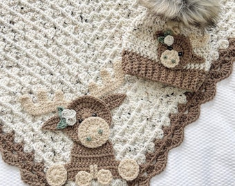 Blanket - Moose Baby Blanket - Crocheted Moose Blanket - Baby Blanket - Moose Blanket - Crocheted Baby Blanket - Woodland Animals