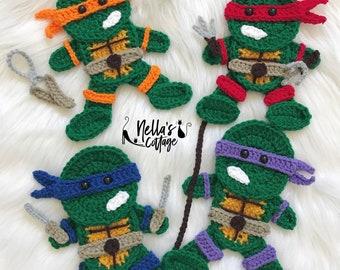Crochet Pattern - INSTANT PDF DOWNLOAD - Pattern - Turtles - Ninjas - Crochet Patterns - Nellas Cottage Patterns - Patterns - Turtle Pattern