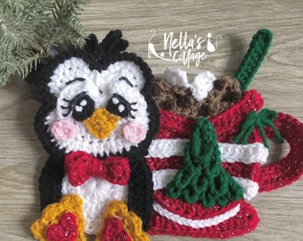 Crochet Pattern - Instant PDF DOWNLOAD - Christmas Penguin - Christmas - Nellas Cottage - Penguin Crochet -Patterns - Holiday Patterns