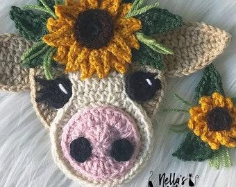 Crochet Pattern - INSTANT PDF DOWNLOAD - Crochet Cow - Boho - Boho Cow - Cow Pattern - Crochet Patterns - Applique Patterns - Sunflower