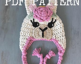 Crochet Pattern - INSTANT PDF DOWNLOAD- Llama Hat - Llama Pattern - Hat Pattern - Crochet Llama - Boho Llama - Boho Llama Hat Pattern