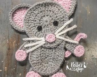 Crochet Pattern - INSTANT PDF DOWNLOAD - Crochet Applique - Applique Pattern - Mouse  - Crochet Mouse - Mouse Applique - Nellas Cottage