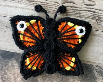 Crocheted Pattern - INSTANT PDF DOWNLOAD - Butterfly - Crochet - Handmade - Garden Friends - Bugs - Monarch Butterfly - Monarch