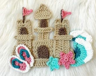 Crochet Pattern - INSTANT DOWNLOAD - Crochet Sand Castle - Crochet Beach - Beaches and Sandcastles - Nellas Cottage - Crochet - Patterns