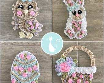 Crochet Pattern - INSTANT PDF DOWNLOAD - Nellas Cottage - Crochet Easter - Easter Bunny - Easter Basket - Easter Egg - Easter Chick