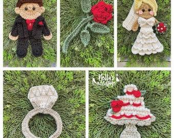 Crochet Pattern - INSTANT PDF DOWNLOAD - Nellas Cottage - I do - Crochet Wedding - Wedding Appliques - Crochet Groom - Bride - Cake - Rings