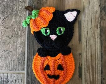 Crochet Pattern - INSANT PDF DOWNLOAD - Halloween Pattern - Pumpkin Pattern - Kitty Pattern - Crochet pumpkin - Crochet Kitty - Appliqué