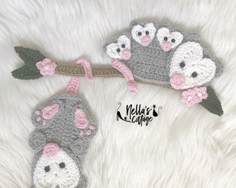 Crochet Pattern - INSTANT PDF DOWNLOAD - Pattern - Opossum Family - Crochet Opossum Pattern - Nellas Cottage Patterns - Opossums - Crochet