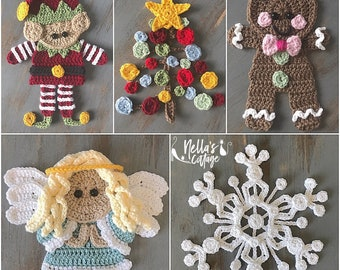 Crochet Pattern - INSTANT PDF DOWNLOAD - Christmas Crochet - Christmas - Crochet Appliqué - Holiday Crochet - Holiday - Angel - Snowflake