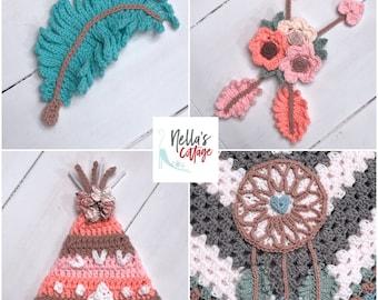 Crochet Pattern - INSTANT PDF DOWNLOAD - Pattern - Crochet Pattern - Dream Catcher - Feather - Tee pee - Arrows - Boho - Bohemian - Nursery