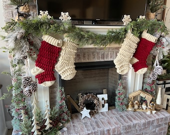 Classic Amara Stocking - Original Amara Stocking - Crocheted Stocking - Farmhouse Stocking - Rustic Christmas Stockings - Nellas Cottage