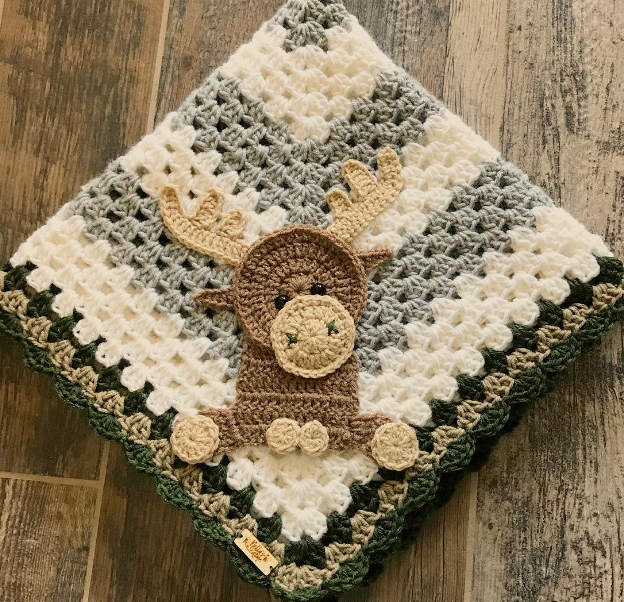 Blanket Moose Baby Blanket Crocheted Moose Blanket Baby Etsy