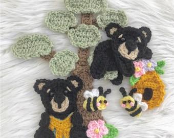 Crochet Pattern - INSTANT PDF DOWNLOAD - Honey Bears - Honey Bees - Nellas Cottage - Crochet - Crochet Patterns - Crochet Appliques - Bears